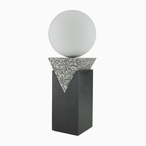 Granite, Solid Steel, & Glass Triangular Monument Lamp by Louis Jobst, 2016