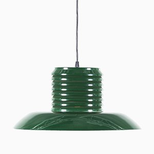 Mid-Century Swedish Green Metal Pendant