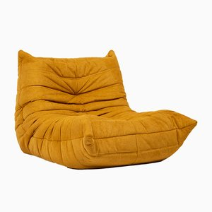 Togo Chair mit gelbem Stoff von Michel Ducaroy für Ligne Roset, 1970er