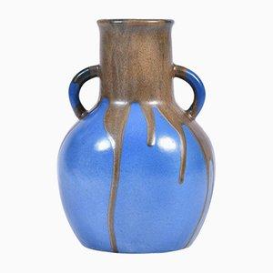 Grand Vase en Grès Bleu & Marron par Leon Point, 1920s