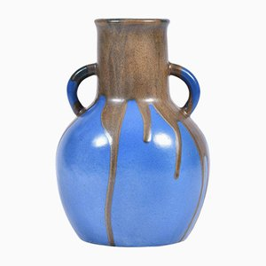 Large Blue & Brown Stoneware Vase by Leon Point, 1920s