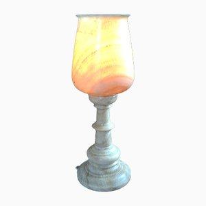 Lámpara de mesa en forma de grial de alabastro, años 70