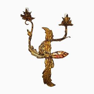 Lámpara de pared Mid-Century de hierro dorado