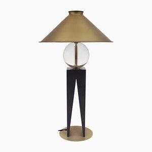 Lampada da tavolo V in legno, vetro spesso ed otton di Louis Jobst