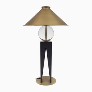 V Table Lamp in Hardwood, Solid Glass, & Brass by Louis Jobst