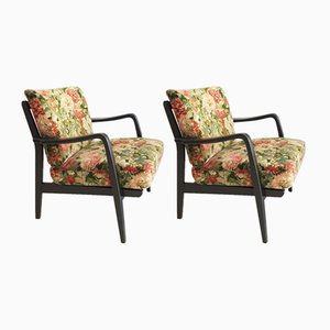 French Black Lacquered Armchairs with Floral Upholstery, 1960s, Set of 2