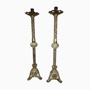 Antique Neo-Gothic Bronze Candelabra, Set of 2