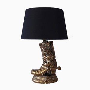 Amerikanische Cowboy Stiefel Lampe aus Messing, 1970er