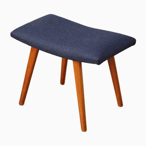 Danish Mid-Century Deep Blue Wool Stool, 1950s