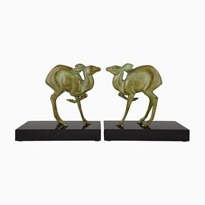Fermalibri Art Deco in bronzo di Rischmann, set di 2