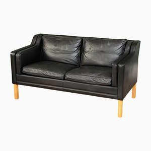 Mid-Century Danish Leather Loveseat from Stouby
