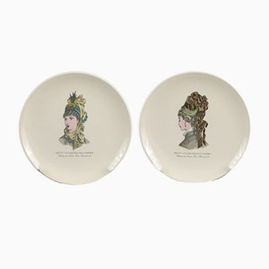 Vintage Ceramic Plates with 19th-Century Fashion Print from Gien, 1950s, Set of 2