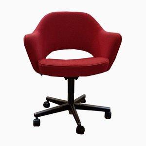 Silla de escritorio de oficina roja de Eero Saarinen para Knoll International, años 80