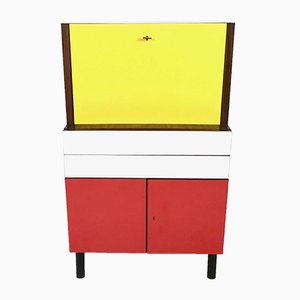 Mid-Century Yellow, Red and White Formica Secretaire, 1950s