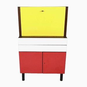Secreter Mid-Century de formica amarillo, rojo y blanco, años 50