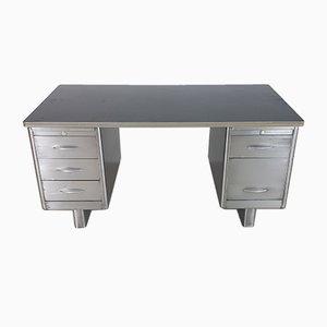 Vintage Industrial Polished Steel Pedestal Desk, 1920s