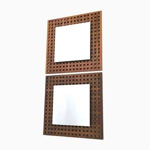 Espejos cuadrados de nogal de Sant'Ambrogio e Deberti, años 60. Juego de 2