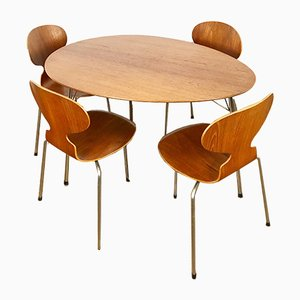 Vintage Egg Table & 4 Ant Chairs by Arne Jacobsen for Fritz Hansen, 1950s