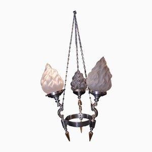 Lámpara colgante Art Déco vintage de tres brazos de metal cromado y latón