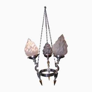 Lampe à Suspension Vintage Art Déco à 3 Bras en Chrome & en Laiton