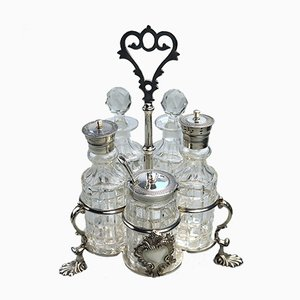 Antique Silver Plated & Cut Glass Cruet Set, 1863