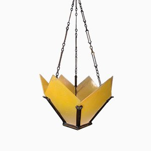 Vintage Art Deco Brass Crown-Shaped Pendant Light with Yellow Frosted Glass Panes
