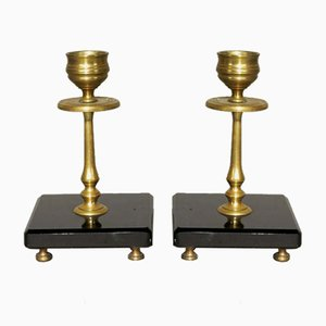 Art Nouveau Brass & Marble Candleholders, Set of 2