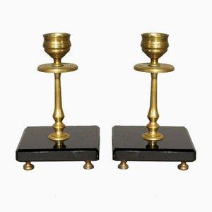 Jugendstil Kerzenhalter aus Messing & Marmor, 2er Set