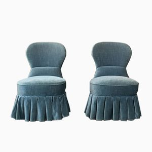 Vintage Blue Velour Lounge Chairs, Set of 2