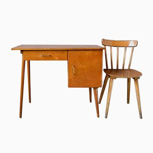 Vintage French Desk & Chair Set from Baumann, 1950s