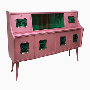 Mid-Century Italian Pink-Lacquered Bar Cabinet with Malachite Panels