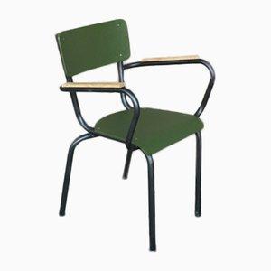 Olivgrüner Vintage Beistellstuhl aus Eiche