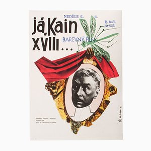 Vintage Czech Movie Poster of Cain the XVIII by Miroslav Zahrádka, 1964