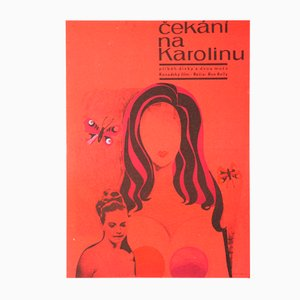 Vintage Czech Movie Poster of Waiting for Caroline by Olga Stárková, 1968