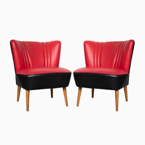 Mid-Century Red & Black Cocktail Chairs, Set of 2