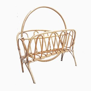 Vintage Wicker Bamboo Magazine Rack