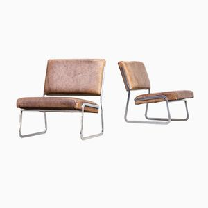 Steel & Leather Lounge Chairs by Paul Sumi for Lübke & Rolf, 1960s, Set of 2