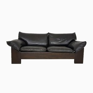 Oak & Leather 2-Seater Sofa from Leolux, 1970s