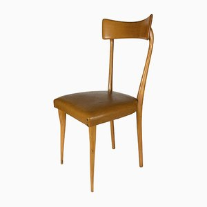 Blonde Wood Chair with Leatherette Seat, 1960s