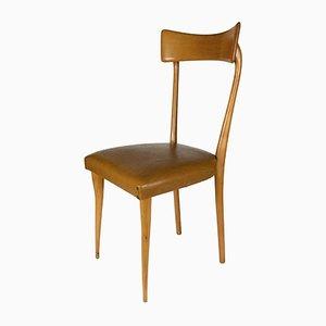 Silla de madera clara con asientos de cuero sintético, años 60