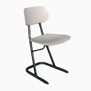Vintage School Chair with Brushed Steel Base