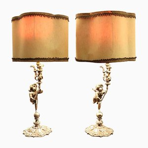 Art Nouveau Silvered Bronze Table Lamps, 1910s, Set of 2