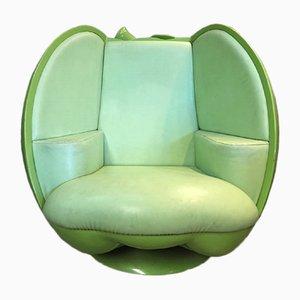 Poltrona Apple verde girevole, anni '90