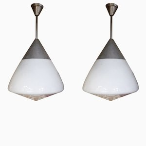 Opaline Glass and Aluminum Pendant Lamps, 1960s, Set of 2