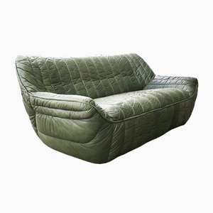 Mid-Century Patchwork Olive Green Leather Sofa from Laauser
