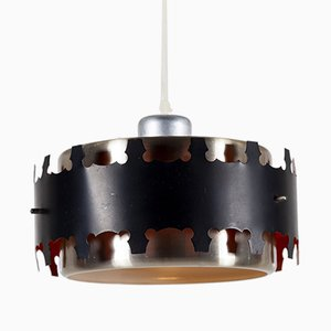 Lámpara colgante Mid-Century danesa de latón y metal de Werner Schou para Coronell Elektro, años 60