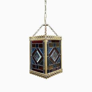 Lanterna vittoriana colorata in vetro e ottone, fine XIX secolo