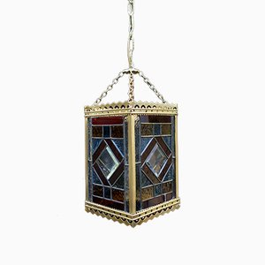 Victorian Coloured Glass and Brass Hall Lantern, 1880s
