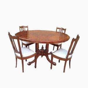Tavolo Liberty con quattro sedie, inizio XX secolo