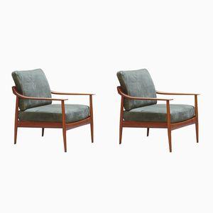 Mid-Century Antimott Sessel mit Gestell aus Teak von Walter Knoll, 1960er, 2er Set